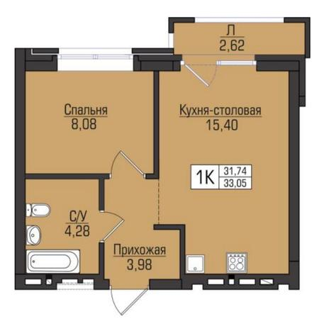 Вариант №5091, 2-комнатная квартира в жилом комплексе