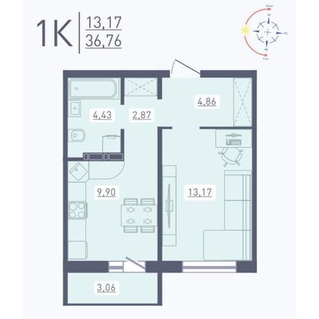 Вариант №5562, 1-комнатная квартира в жилом комплексе