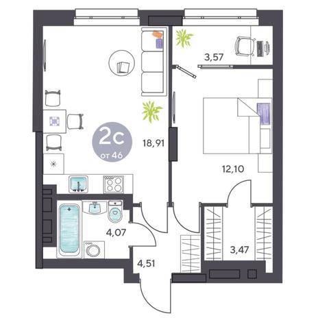 Вариант №5432, 2-комнатная квартира в жилом комплексе Ясный берег