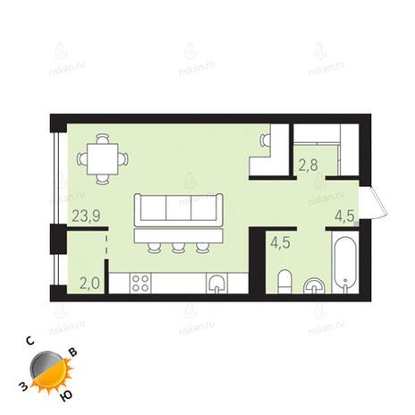 Вариант №1302, 1-комнатная квартира в жилом комплексе Европейский Берег