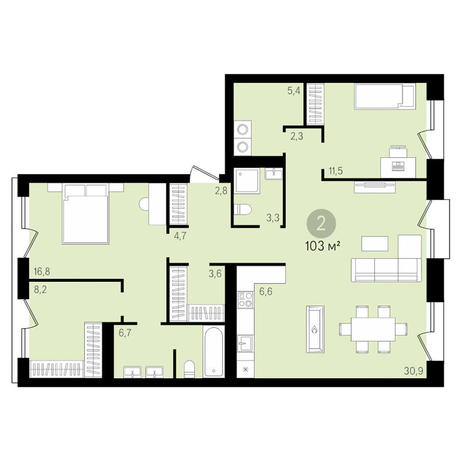 Вариант №3479, 3-комнатная квартира в жилом комплексе