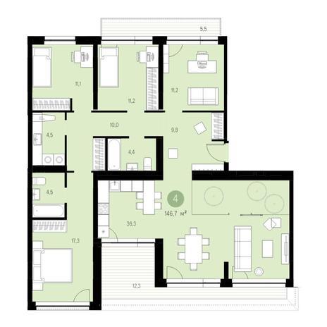 Вариант №4736, 5-комнатная квартира в жилом комплексе Европейский Берег