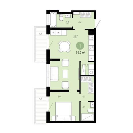 Вариант №6010, 2-комнатная квартира в жилом комплексе