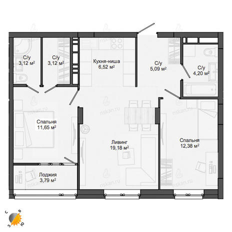 Вариант №2136, 3-комнатная квартира в жилом комплексе