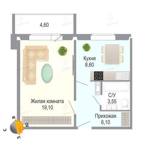 Вариант №1389, 1-комнатная квартира в жилом комплексе Чеховский