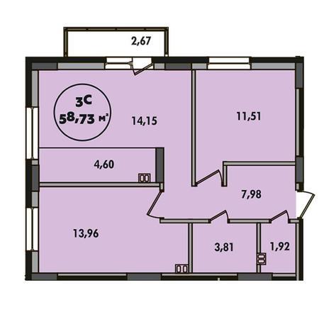 Вариант №5507, 3-комнатная квартира в жилом комплексе Родники