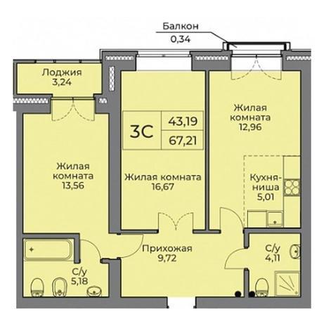 Вариант №3524, 3-комнатная квартира в жилом комплексе