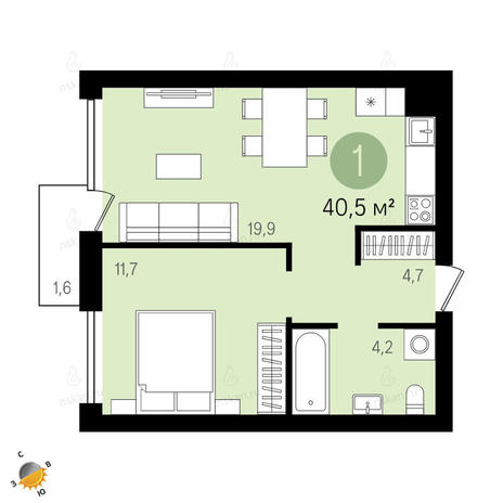 Вариант №2402, 2-комнатная квартира в жилом комплексе