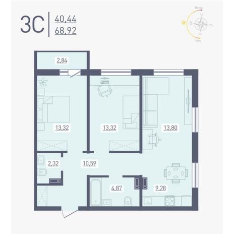 Вариант №4884, 3-комнатная квартира в жилом комплексе Радуга Сибири