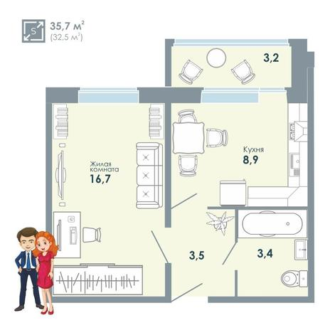Вариант №5151, 1-комнатная квартира в жилом комплексе
