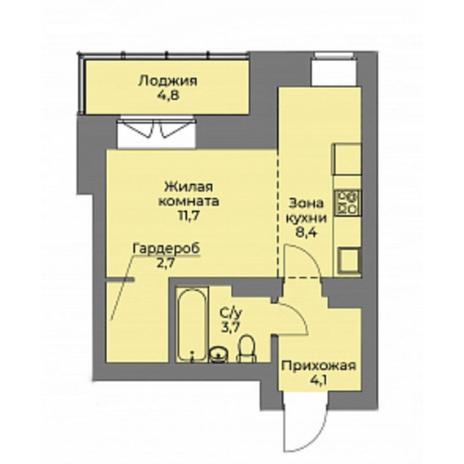 Вариант №4405, 1-комнатная квартира в жилом комплексе Эскимо