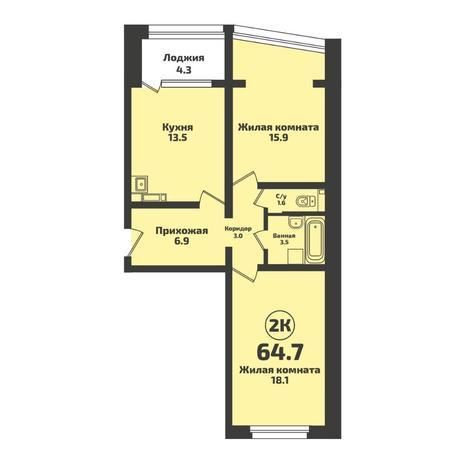 Вариант №5708, 2-комнатная квартира в жилом комплексе NOVA-дом