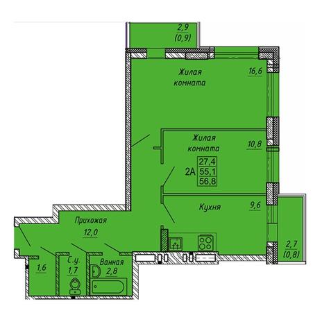 Вариант №3275, 2-комнатная квартира в жилом комплексе Ника