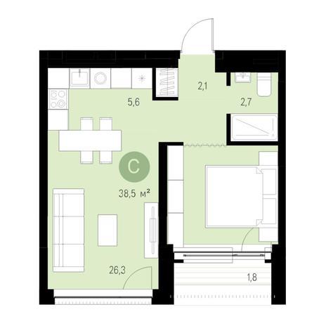 Вариант №4733, 2-комнатная квартира в жилом комплексе Европейский Берег