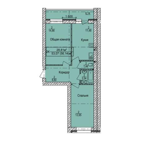 Вариант №6153, 2-комнатная квартира в жилом комплексе Дивногорский