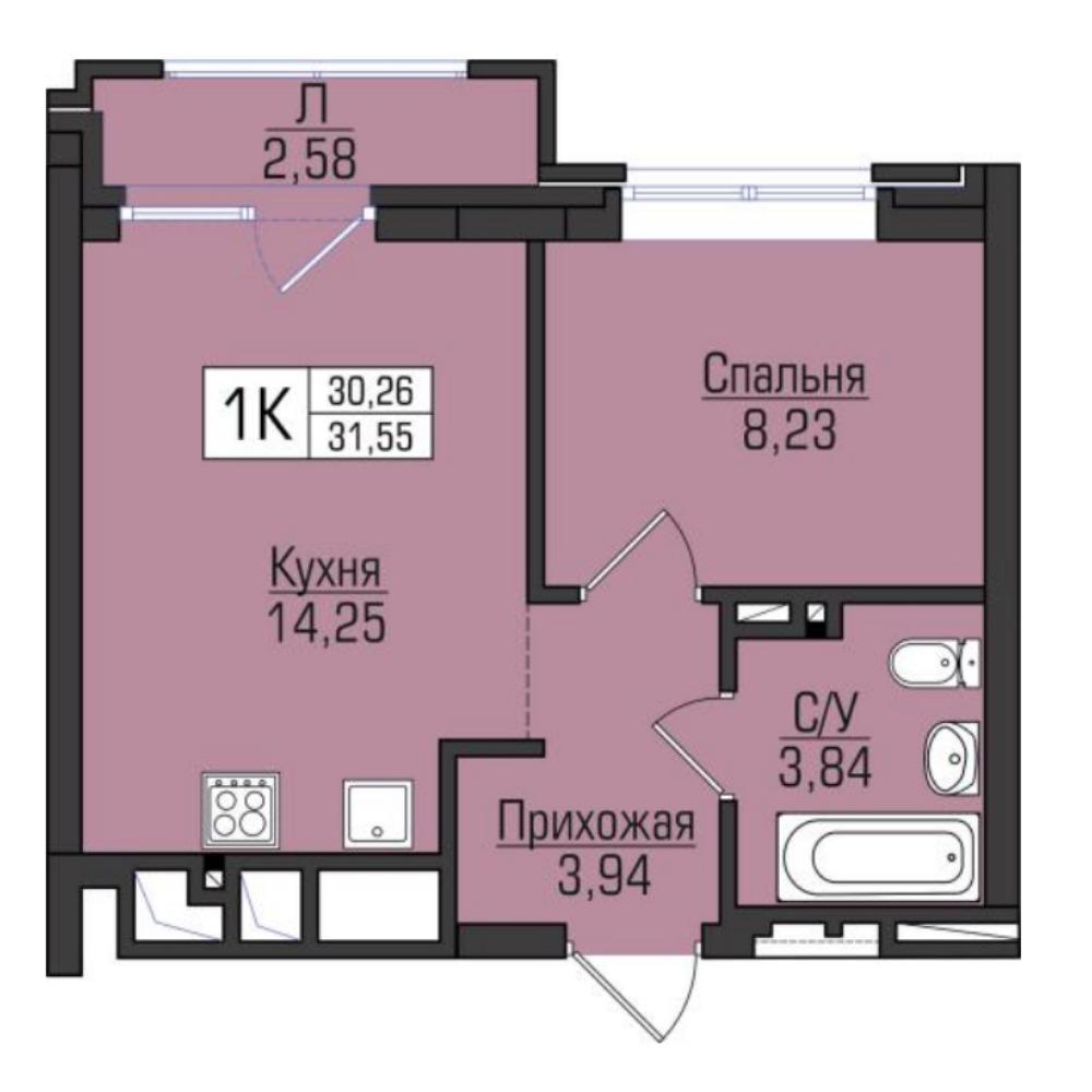 Планировка 1-комнатная площадью 31.55 м<sup>2</sup> в ЖК Цивилизация