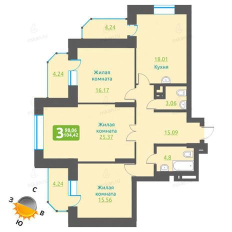 Вариант №1224, 4-комнатная квартира в жилом комплексе Марсель