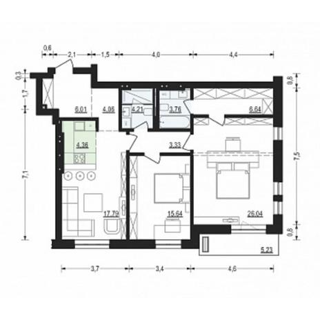 Вариант №4908, 3-комнатная квартира в жилом комплексе