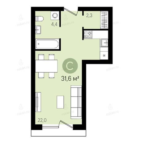 Вариант №2646, 1-комнатная квартира в жилом комплексе Квартал на Никитина