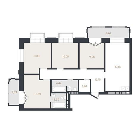 Вариант №3331, 4-комнатная квартира в жилом комплексе