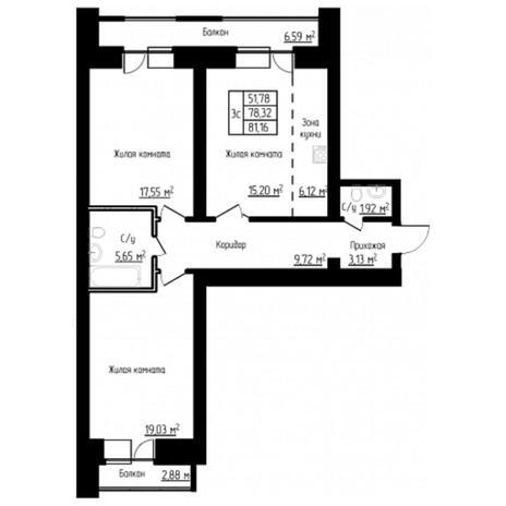 Вариант №4526, 3-комнатная квартира в жилом комплексе Спектр