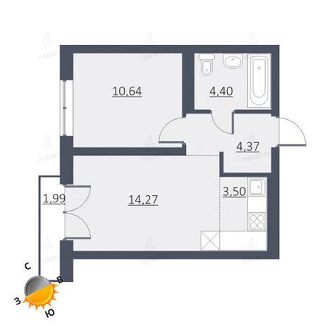 Вариант №1628, 2-комнатная квартира в жилом комплексе