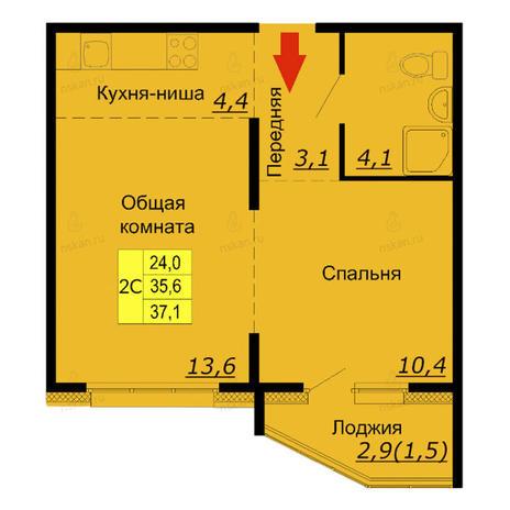 Вариант №2589, 2-комнатная квартира в жилом комплексе Мандарин