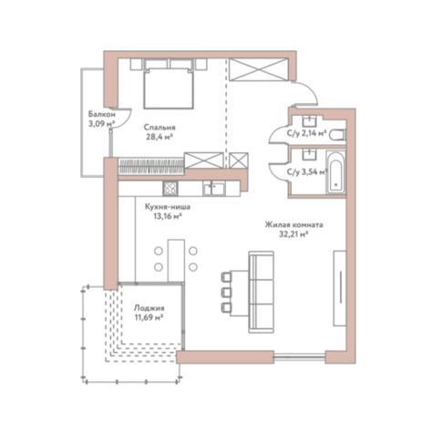 Вариант №5978, 2-комнатная квартира в жилом комплексе