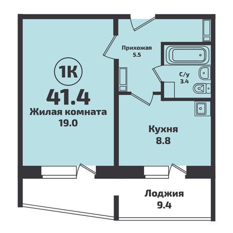 Вариант №4955, 1-комнатная квартира в жилом комплексе