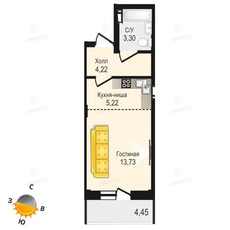 Вариант №1343, 1-комнатная квартира в жилом комплексе Крымский