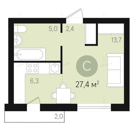 Вариант №2651, 1-комнатная квартира в жилом комплексе