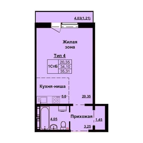 Вариант №3165, 1-комнатная квартира в жилом комплексе Чистая Слобода