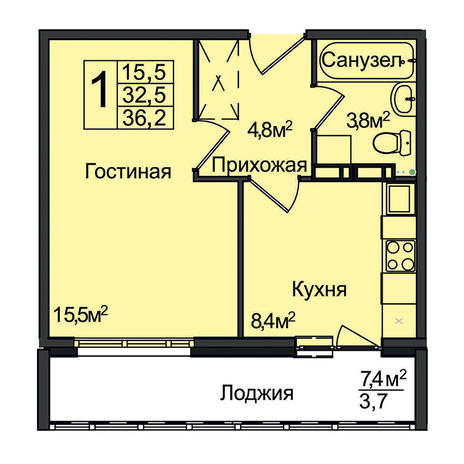 Вариант №3095, 1-комнатная квартира в жилом комплексе