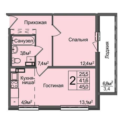 Вариант №3890, 2-комнатная квартира в жилом комплексе Венеция