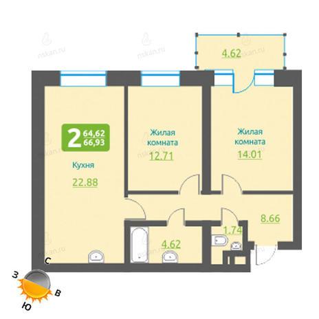 Вариант №1217, 3-комнатная квартира в жилом комплексе Марсель