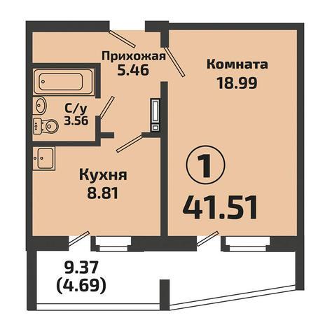 Вариант №3380, 1-комнатная квартира в жилом комплексе