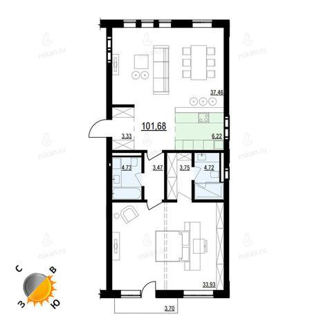 Вариант №903, 2-комнатная квартира в жилом комплексе Montblanc