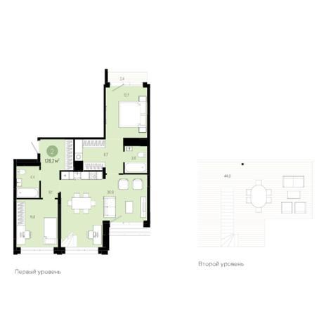 Вариант №6008, 3-комнатная квартира в жилом комплексе