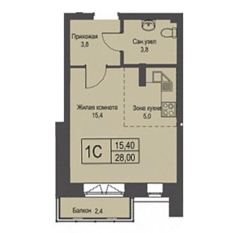 Вариант №3428, 1-комнатная квартира в жилом комплексе