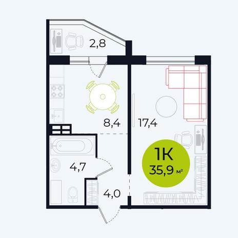 Вариант №4098, 1-комнатная квартира в жилом комплексе Ника