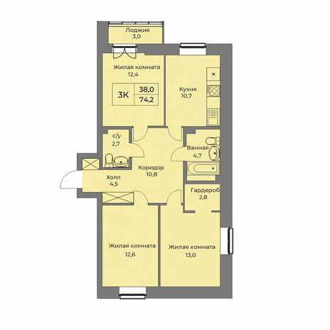Вариант №5287, 3-комнатная квартира в жилом комплексе