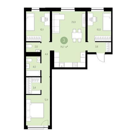 Вариант №4670, 4-комнатная квартира в жилом комплексе Европейский Берег