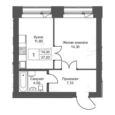 Вариант №2702, 1-комнатная квартира в жилом комплексе