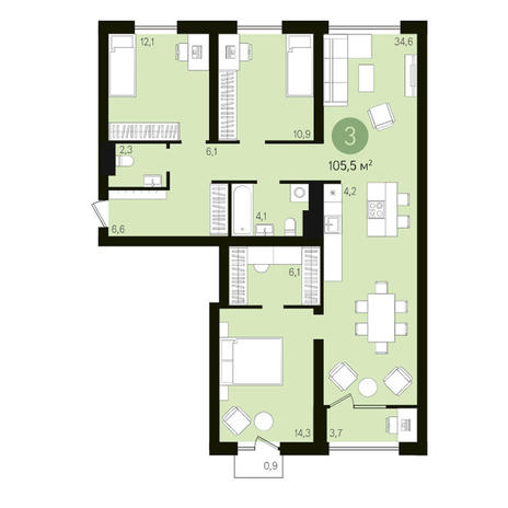 Вариант №3609, 4-комнатная квартира в жилом комплексе