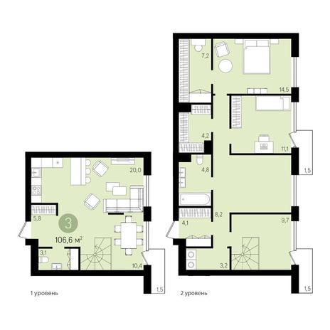 Вариант №3316, 3-комнатная квартира в жилом комплексе Европейский Берег