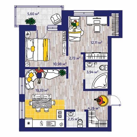Вариант №4380, 3-комнатная квартира в жилом комплексе Акварельный 3.0