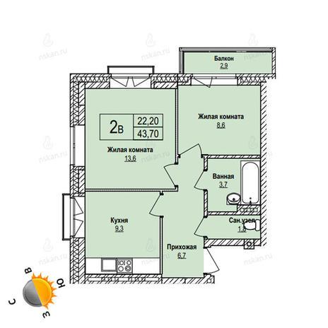 Вариант №1096, 2-комнатная квартира в жилом комплексе