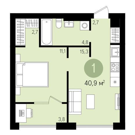 Вариант №3004, 2-комнатная квартира в жилом комплексе