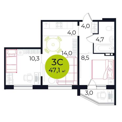 Вариант №5491, 3-комнатная квартира в жилом комплексе