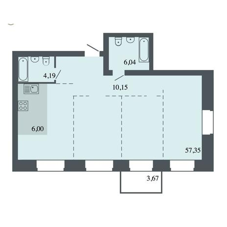 Вариант №4483, 4-комнатная квартира в жилом комплексе Спектр